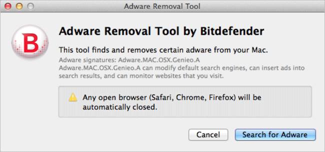 Adware Removal Tool for Mac
